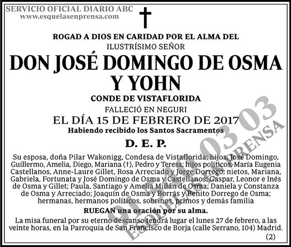 José Domingo de Osma y Yohn